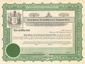 North Hudson Air Conditioning > 1930s New Jersey stock certificate share