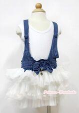 Blue Denim White 3 Layers Girl Tutu Dress With White Tank Top 2-7Year PD038