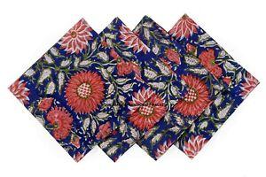 Hand Block Print 100%Cotton Voile Fabric Table Napkins Blue Indian Set 4 Pcs
