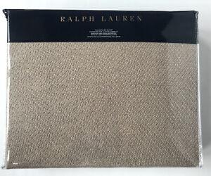 RALPH LAUREN Queen Park Avenue Modern Madden Cotton Wool Bed Blanket Oatmeal Tan