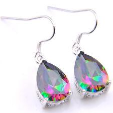 Artistic Jewelry Natural Rainbow Mystic Topaz Gems Silver Dangle Drop Earrings