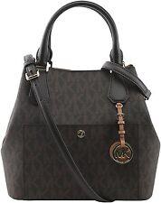 Michael Kors Greenwich Large MK Logo Grab Bag Satchel Handbag Brown Nwt $358