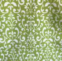 """TPSA Outdoor Polyester White Green Fleur de Lis Scrolls Fabric BTY  54"""" wide"""