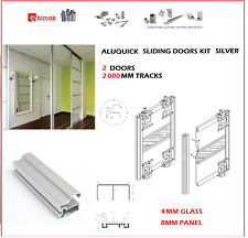 ALUQuick  NEW BIMAK SLIDING WARDROBE DOOR SET 2 DOORS WARDROBE TRACK KIT SILVER