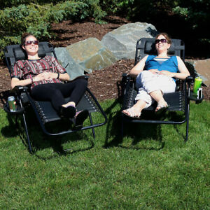 Sunnydaze Oversized Zero Gravity Lounge Chair and Cup Holder - Set of 2 - Black