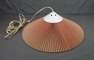 Vintage Mid Century Modern Nordic Pleated Shade Hanging Pendant Lamp Light