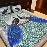 Cotton Bed Sheet Double with Pillow Cover King Size Peacock Collection- Green