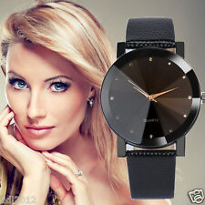 Luxury Crystal Women Watch Leather Band Analog Quartz Bracelet Wrist Watch Black