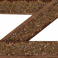 Vintage Sari Border Antique Hand Beaded Woven 1 YD Indian Trim Sewing Brown Lace