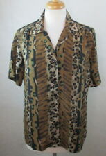 DONNKENNY WOMENS MEDIUM M BUTTON DOWN SHIRT TOP BLOUSE ANIMAL PRINT OVER SIZED