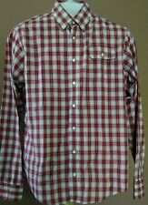 Gant by Michael Bastian Men's Casual L/S Red/White Plaid Button Down Shirt XL 22
