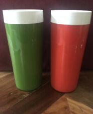 """2 Vintage WEST BEND Red Olive Green THERMO-SERV Plastic 6.25"""" TUMBLER Cups"""