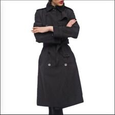 Norma Kamali Women's Black, Belted Trench Coat-Lined-Size-XL
