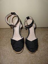 COACH Black Logo Espadrille Sandals Shoes Heels Size 7 ~ Worn Once!
