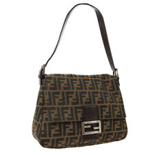 FENDI Zucca Pattern Mamma Baguette Shoulder Bag Brown Canvas Leather NR15074