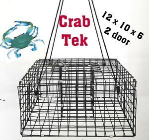 Crab Tek NEW Blue crab Box trap Crab Pot PVC Black Two Door USA Made 12 x 10 x 6