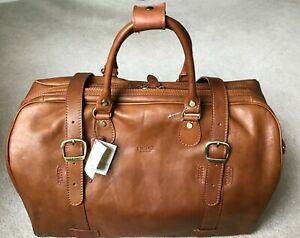 """NEW British Tan Brown Italian Leather """"I Medici"""" Grande 20"""" Duffel Bag Luggage"""
