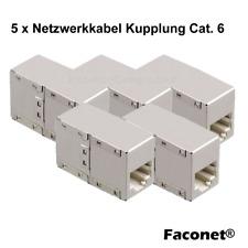 5x Netzwerk Kabel Netzwerkverbinder Adapter Kupplung geschirmt RJ45 BU/BU Metall