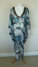 M&S Grey Blue White Abstract Animal Beachwear Kaftan Dress Size L UK 16-18 BNWT