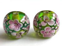 10pcs exquisite handmade Lampwork glass beads green purple  flower 14mm