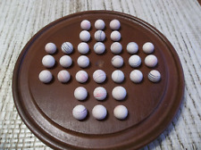 VINTAGE ANTIQUE SOLITAIRE BOARD WITH 19TH CENTURY GERMAN CLAY MARBLES HANDMADE