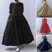 ZANZEA Damen O-Ausschnitt Freizeit Maxikleid Oversize Langarm Kleid Lang Kleider