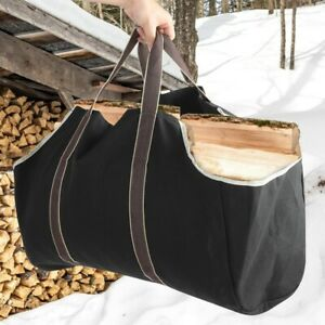 Large Capacity Wood Log Carrying Bag Outdoor Firewood Carrier Holder