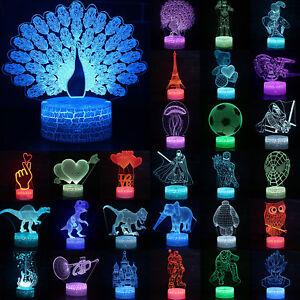 3D Illusion LED Nachtlicht Wechsel Tischlampe Licht Schreibtischlampe 7 Farbe