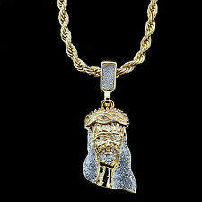 """ICED OUT 14K GOLD PLATED MINI JESUS FACE PIECE PENDANT & 24"""" ROPE CHAIN *NEW*"""
