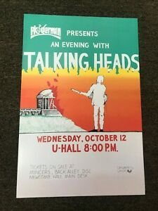 "The Talking Heads 1983 Charlottesville Concert Cardstock Poster 12"" x 18"""