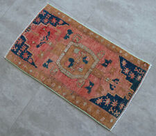 """Vintage Distressed Small Area Rug Hand Knotted Oushak Rugs Yastik -1'7""""x2'7'"""