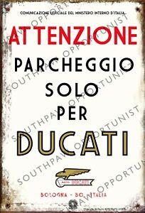 Vintage Retro Style DUCATI Parking Only Metal Tin Sign Italian theme 28cm x 19cm