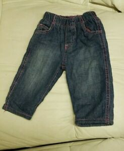 The Children's Place Girls Size 3-6 Months Pink Fleece Lined Denim Jeans