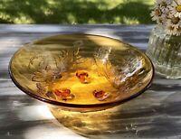 Bernstein Farbe Gelb Art Déco Schale Pressglas Antik Glasschale floral