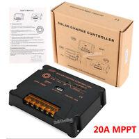 MPPT Solar Charge Controller 20A 12V/24V PV Solar Panel Battery Regulator W/ USB