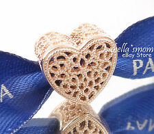 FILLED WITH ROMANCE Authentic PANDORA Rose GOLD Plated LOVE HEART Charm/Bead NEW