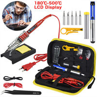 220V 80W LCD Digital Temperature Adjustable Electric Soldering Welding Iron Kit