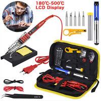 220V 80W LCD Digital Temperature Adjustable Electric Soldering Welding Iron Kit
