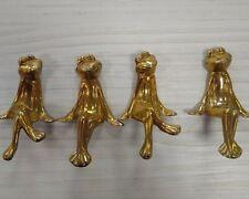 Vintage Shelf Sitting Brass Frog Figurine Ornaments Set of 4
