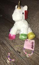 Aurora White Rainbow Plush Unicorn Girls Jewelry Set Necklace Bracelet Ring Lot