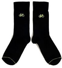 MENS BLACK CYCLING YELLOW BICYCLE SOCKS ONE SIZE UK 9-12