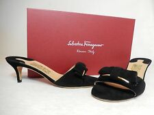 NWB SALVATORE FERRAGMO Patent Bow Front Suede Sandals $350 s6.5/7/8, Black