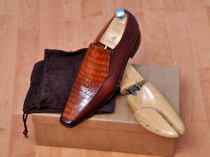 Made To Order Men's Fashion Handmade Leather With Crocodile Print Shoes