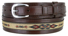 "Men's Leather Durable with Fine Cloth Western Ranger Cowboy Belt - 1 1/2"" Wide"
