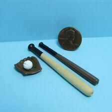 Dollhouse Miniature Baseball Sport Set, Glove, Ball & Bats ~ JOS6271