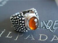 SILPADA RARE RETIRED Beaded Sterling Silver 925 Amber Cabochon Ring Size 6 R0893