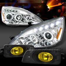 For 06-07 Accord 4DR Chrome LED Halo Projector Headlights+Yellow Fog Lamps