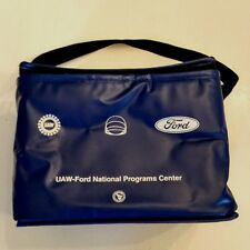 FORD Motor Co Insulated Cooler Lunch Tote Bag UAW Union Logo Blue Vinyl Zip Top