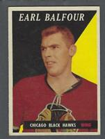 1958-59 Topps Chicago Blackhawks Hockey Card #37 Earl Balfour