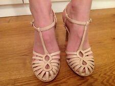 Kate Kuba T bar ankle strap cream leather platform stilettos Size 37